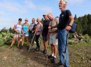 Een wandeling met de groep vrienden vlnr: Marlies-Marleen-Nicole-Coen-Wijnand-Fritz en Diederik ( niet op de foto)